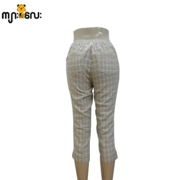 (Small Size ) Linen Brown Big Check Low Waist 3/4 Pants