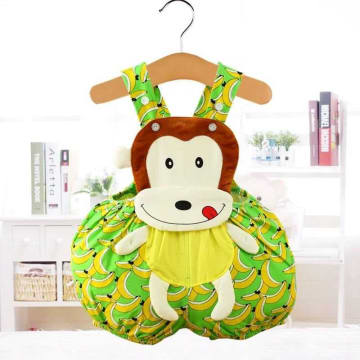 Cartoon animal shape Triangle romper - Monkey (Green)