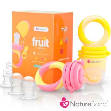 NatureBond Baby Fruit & Food Feeder- Peach Pink and Lemonade Yellow