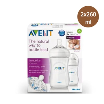 Philips Avent-Bottle Natural 260ML/90Z Twin - SCF-693/23