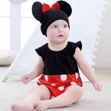 Minnie Mouse Costume Romper Outfit Set - with hat