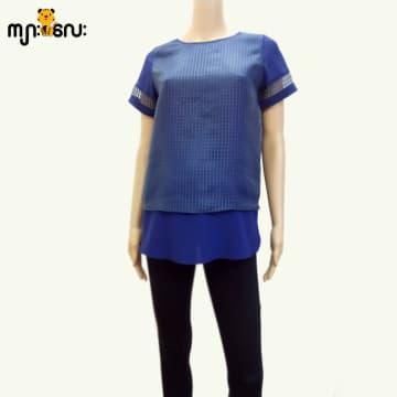 (Small Size) Chiffon Dark Blue Square Lace 2 Layer Blouse