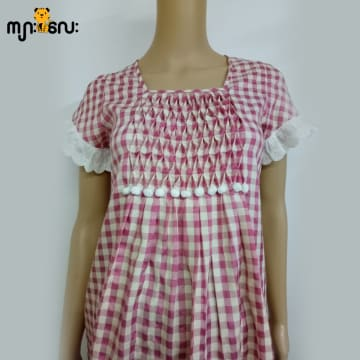 (Large Size) Silk & Cotton Pink Check with Smokking & Lace Blouse