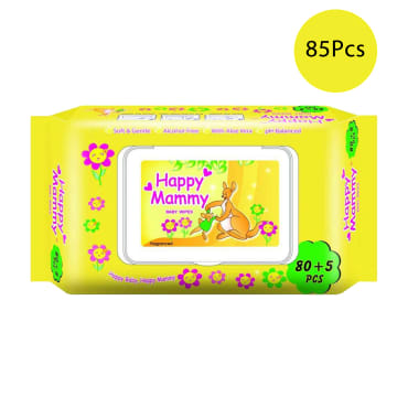 Happy Mammy Baby Wipes Yellow (85pcs)