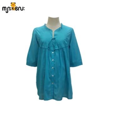 (Large Size) Cotton Turquoise Blouse