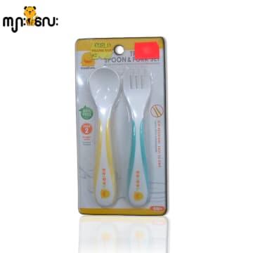 (piyopiyo) Stage 2 Training Spoon & Fork Set (Yellow+Blue)
