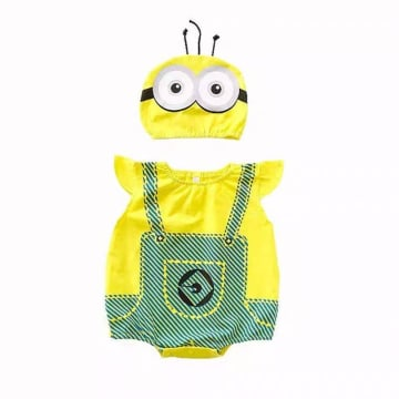 Minion Costume Romper Outfit Set - with hat