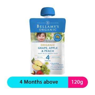 Bellamy's Organic Puree Grape,Apple & Peach (120g)