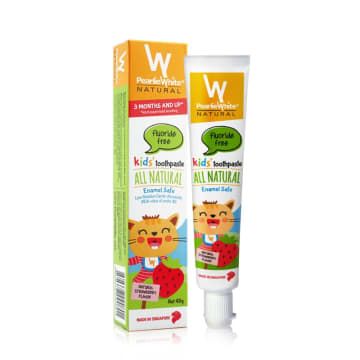 Pearlie White Strawberry Toothpaste Fluoride Free 3 M+