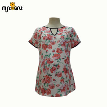 (Large Size ) Chiffon Orange Flower Printed Design V - Neck Blouse