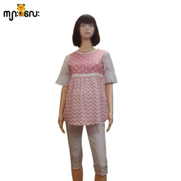 (Medium Size ) Cotton Pink Spot & Stripe 3/4 Sleeves Blouse