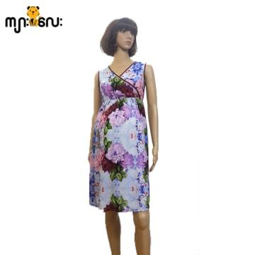 (Small Size) Chiffon Purple Flower Printed Design Silk Marrom String Sleeveless