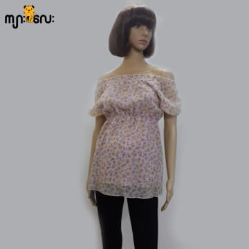 (Medium Size ) Chiffon Pink Flower Printed Smoking Design Blouse