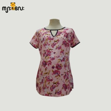 (Large Size ) Chiffon Dark Pink Flower Printed Design V - Neck Blouse