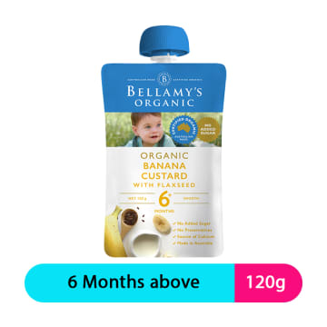 Bellamy's Organic Puree Banana Custard With Flaxseed (120g)