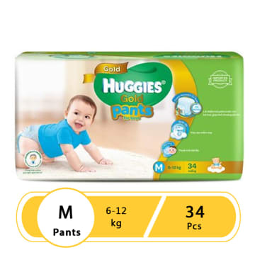 Huggies (Gold Pants)  Over Night  Medium 34 boy