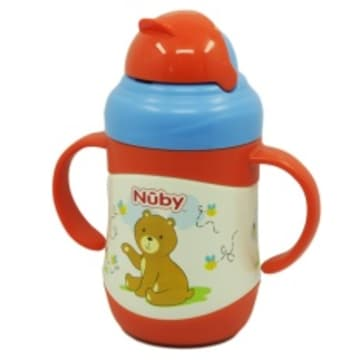 Nuby SS Click-It Flip-It Twin Handle 220ml - (Bear) 10222