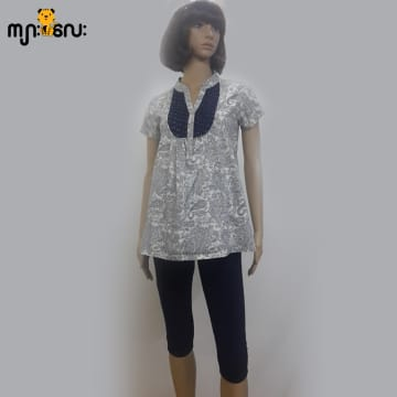 (Small Size) Cotton Blue Spot with White Lace Blouse
