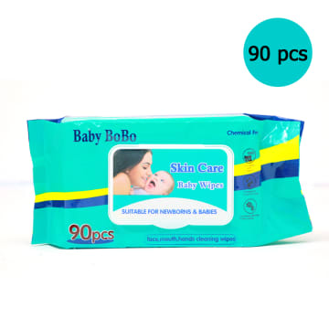 Baby Bo Bo Skin Care Baby Wipes Blue(90 Pcs)