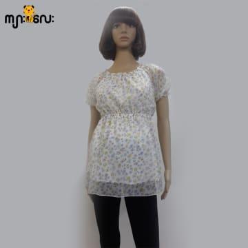 ( Medium Size ) Chiffon White Flower Printed Smoking Design Blouse