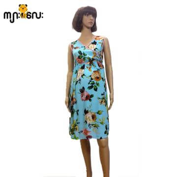(Large Size) Chiffon Blue Flower Printed Design Silk Marrom String Sleeveless
