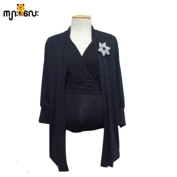 (Small Size) Stretch Black Long Cardigan With Flower Brooch