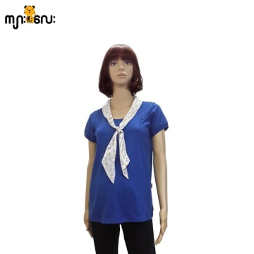 (Large Size) Stretchable BlueWith Boetyle Blouse