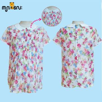 (Medium Size) Chiffon Rose Flower Printed Design Blouse