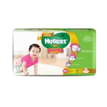 Huggies (Gold Pants)  Over Night  M 34 Girl