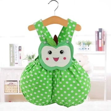Cartoon animal shape Triangle romper - Apple (Green)