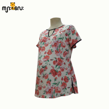 (Small Size ) Chiffon Dark Orange Flower Printed Design V - Neck Blouse