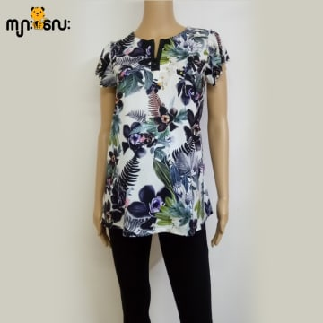 (Small Size) Stretchable Black Flower Printed Design with Pearl Blouse