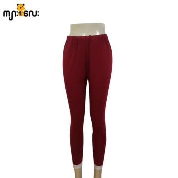 (Medium Size) Legging Long Pants Maroom Color With Lace