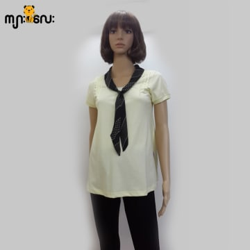 (Large Size) Stretchable Yellow With Boetyle Blouse