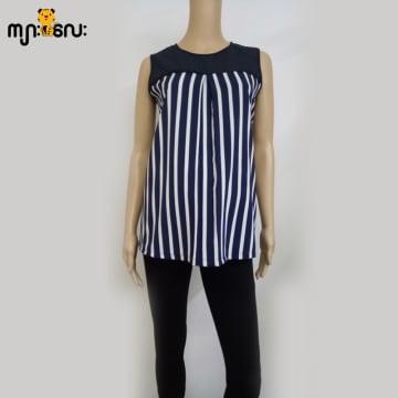 (Large Size) Stretchable Dark blue stripe with lace Sleeveless Blouse