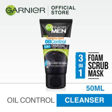 GARNIER MEN Turbo Light Oil control 3 in 1 intensive charcoal foam - 50ml