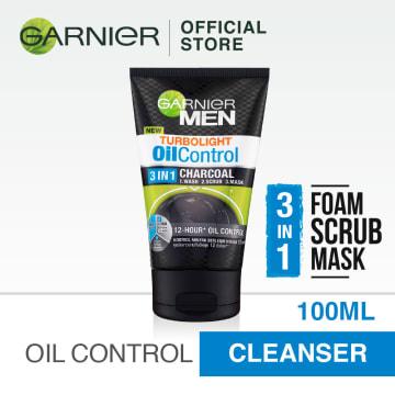 GARNIER MEN Turbo Light Oil control 3 in 1 intensive charcoal foam - 100ml