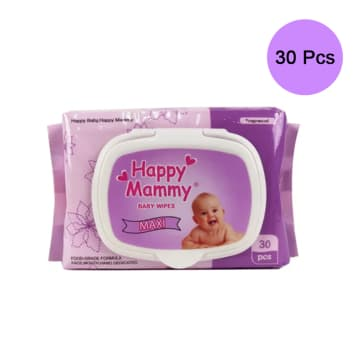 Happy Mammy baby Wipes Fragranced Purpal Pink (30Pcs)