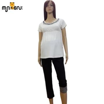(Large Size ) Cotton Black With Black & White Check 5 qtr Pants