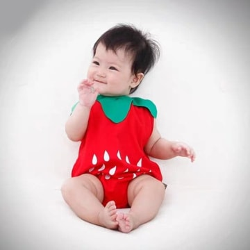 Strawberry Costume Romper Outfit Set