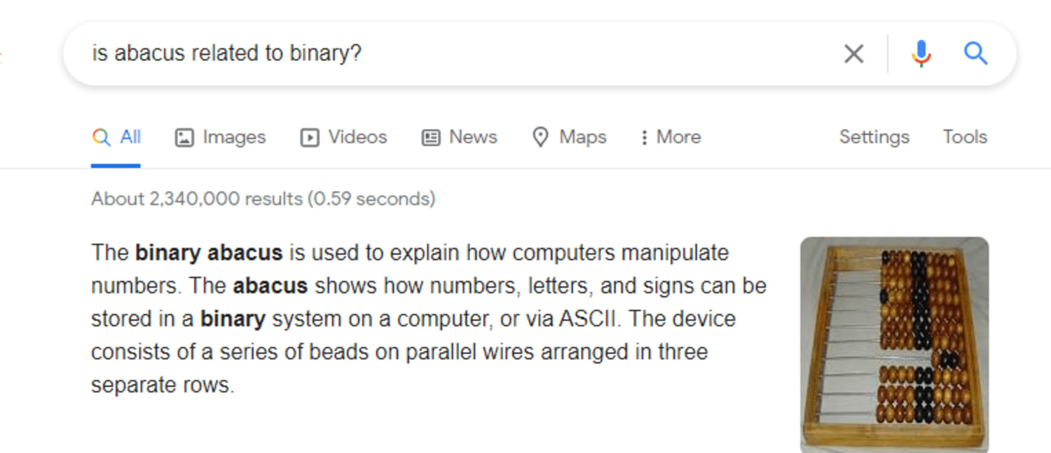 Techdiary: Google search about abacus.