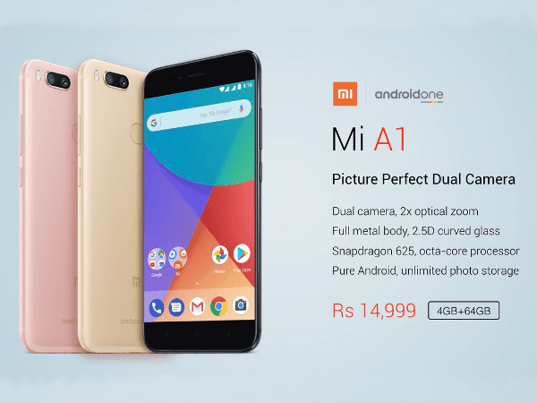 Xiaomi Mi A1 Android One Dual Camera launched in India at Rs 14,999