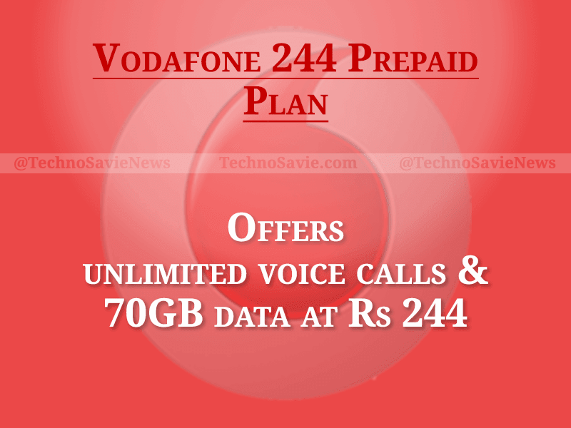 Vodafone 244 prepaid plan offers unlimited voice calls and 70GB data