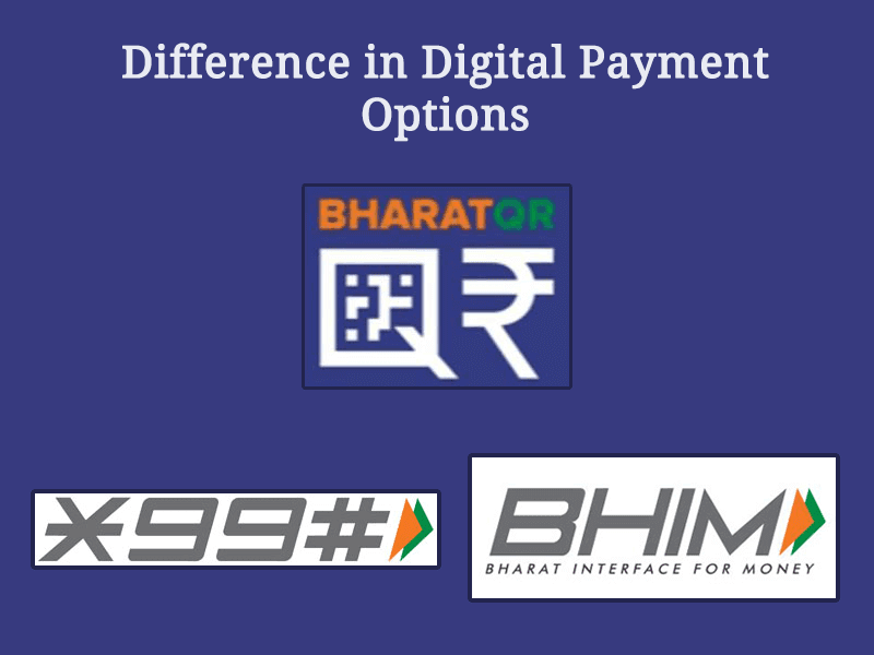 Difference in Digital Payment options of Digital India: BharatQR, BHIM and *99#