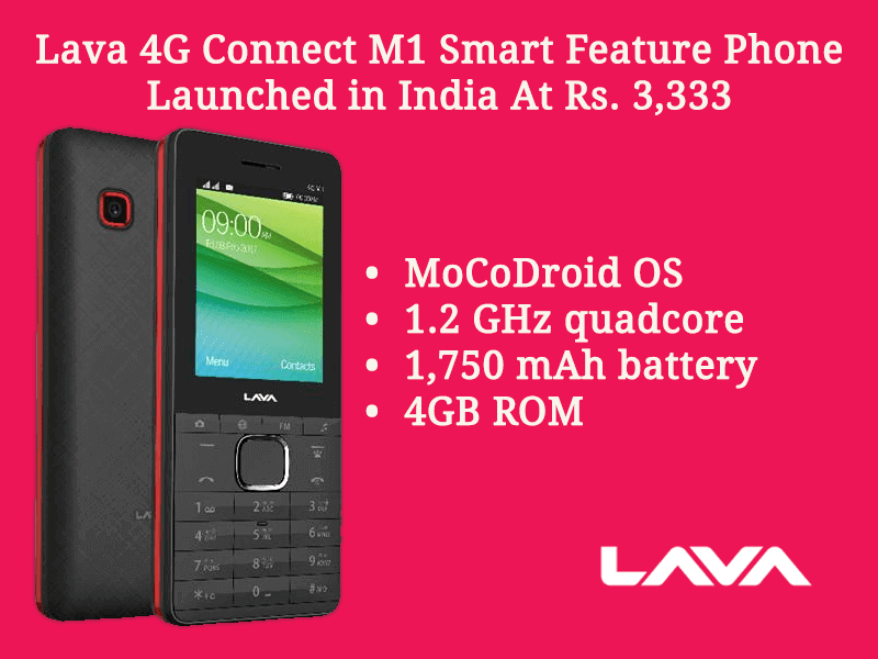 Lava 4G Connect M1 Smart Feature Phone Launched In India At Rs. 3,333