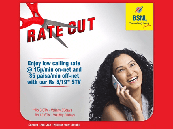 BSNL launched on-net and off-net low calling rate STVs at just Rs 8 & Rs 19