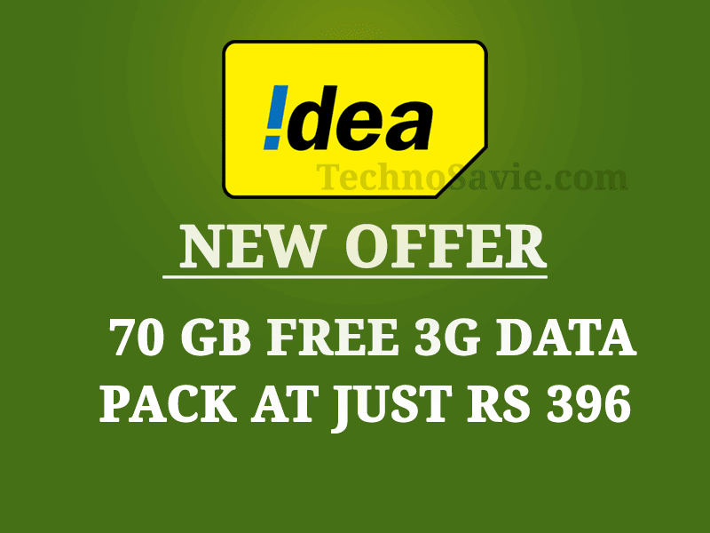 Idea Cellular new offer: 70 GB Free 3G data at just Rs 396