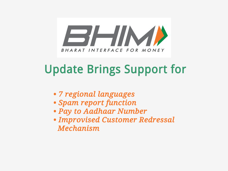 BHIM App Update Supports 7 Regional Languages & Spam Report Function