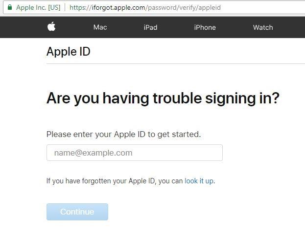 iforgot.apple password