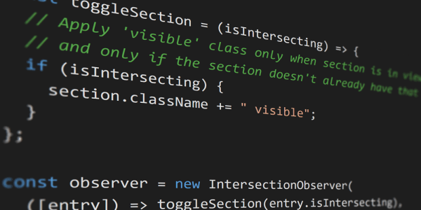 A code snippet, showcasing the Intersection Observer API
